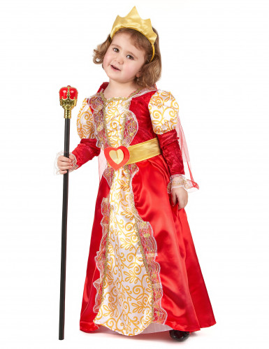 Disfraz de reina para niña rojo y dorado