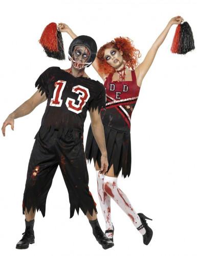 Disfraces de pareja de jugador de fútbol americano y animadora zombies ideales para Halloween