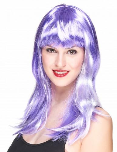Peluca violeta larga para mujer