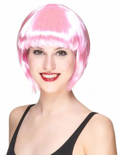 Peluca cabaré rosa para adulto