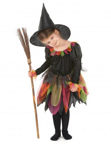 Disfraz de bruja multicolor para niña
