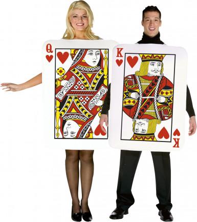 Disfraz de pareja cartas rey y reina de corazones