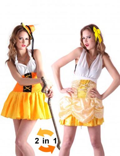 Disfraz reversible de tirolesa y princesa