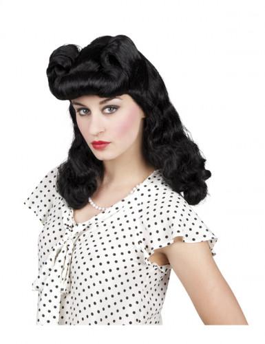 Peluca negra ondulada años 50