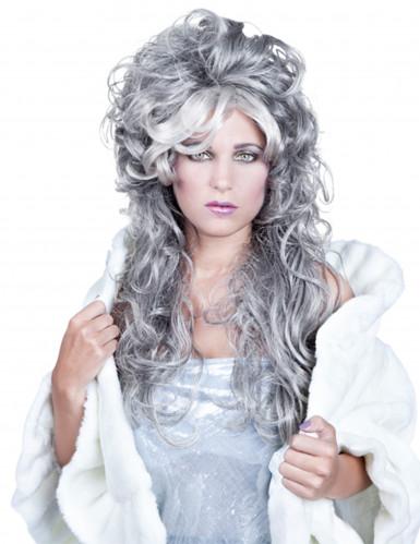 Peluca ondulada gris