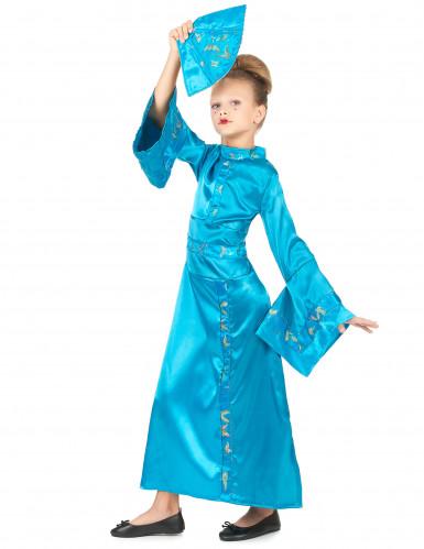 Disfraz de geisha azul cielo para niña-1