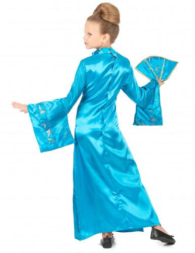 Disfraz de geisha azul cielo para niña-2