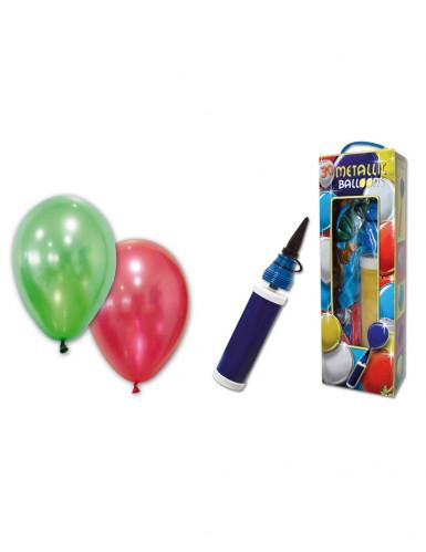 25 Globos metálicos con bomba de aire