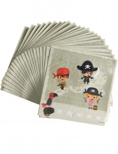20 Servilletas de papel pirata y el tesoro 33 x 33 cm