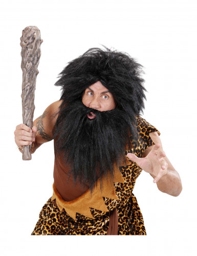 Peluca con barba negro adulto-2
