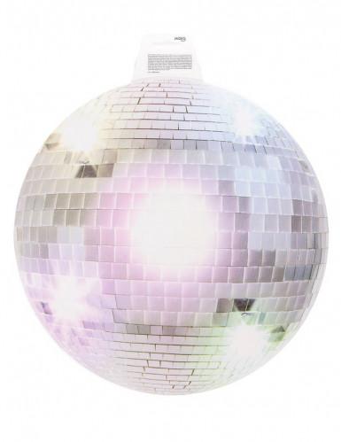 Decoración mural bola disco plateada-1