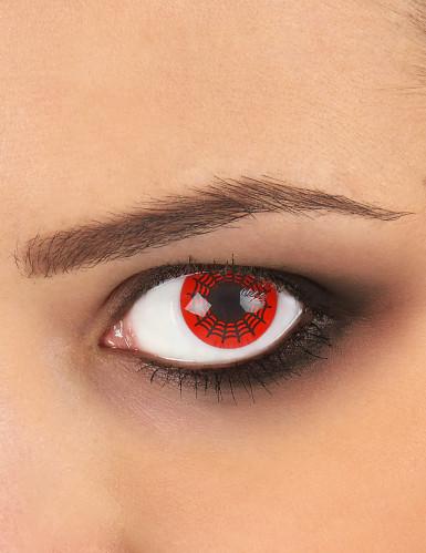 Lentillas fantasía telaraña negra y roja