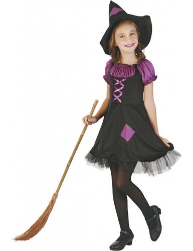 Disfraz de bruja violeta niña