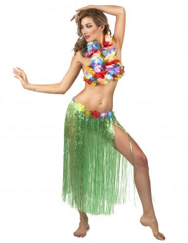 Falda hawaiana verde adulto