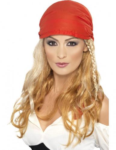 Peluca larga rubia pirata mujer