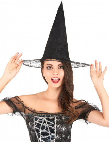 Sombrero de bruja negro telaraña adulto Halloween-1