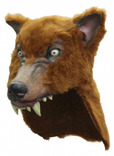Máscara de lobo marrón adulto