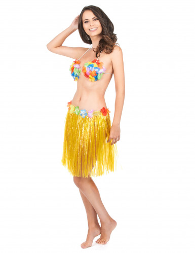 Falda hawaiana corta amarilla