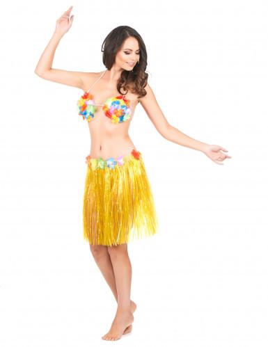 Falda hawaiana corta amarilla-1