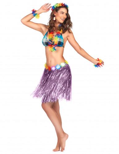 Falda hawaiana corta violeta