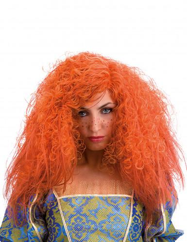 Peluca rizada naranja mujer