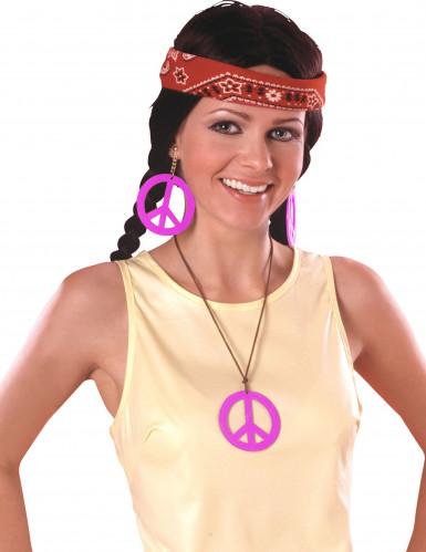 Pendientes y collar Hippie rosa