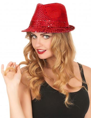 Sombrero rojo lentejuelas adulto-2