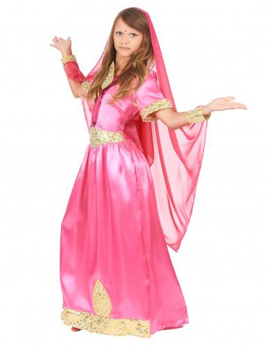 Disfraz de princesa bollywood rosa niña-1