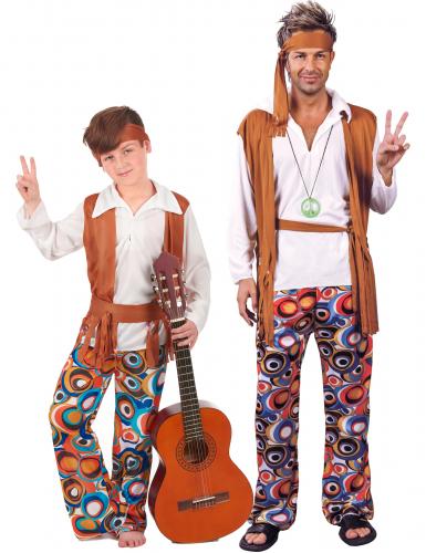 Disfraz de pareja de Hippie padre e hijo