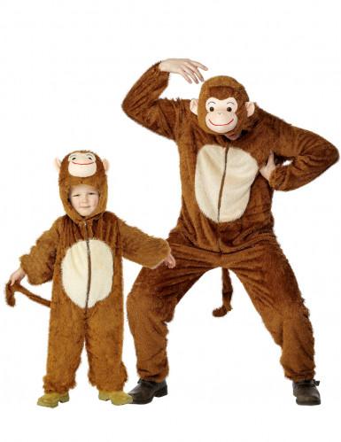 Disfraz de pareja mono padre e hijo