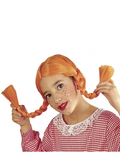 Peluca trenzas naranja niña