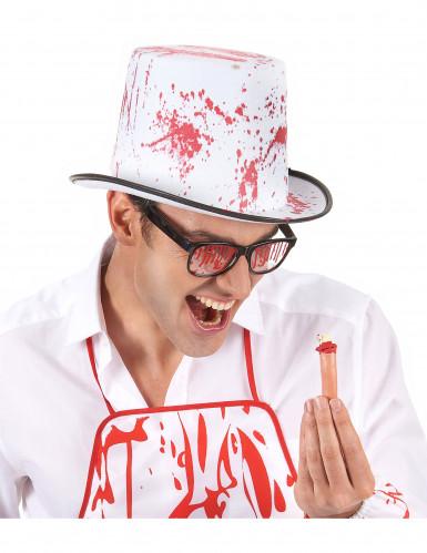 Sombrero blanco manchado de sangre adulto Halloween-1
