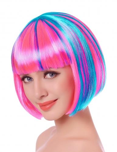 Peluca corta con mechas multicolores mujer