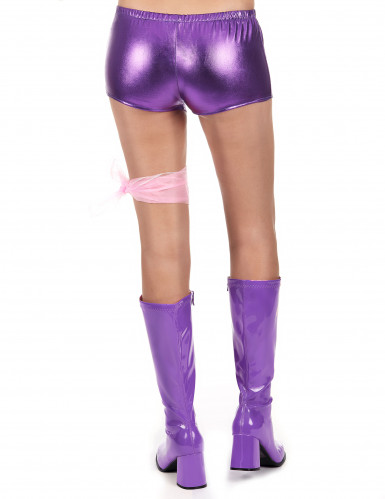 Pantalón corto violeta brillante mujer-2