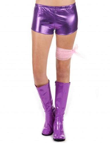 Pantalón corto violeta brillante mujer-1