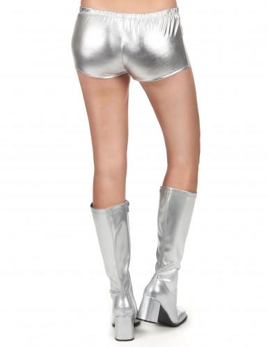 Pantalón corto disco plateado brillante mujer-2
