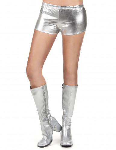 Pantalón corto disco plateado brillante mujer-1