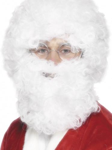 Barba y peluca blanca adulto Papa Noel