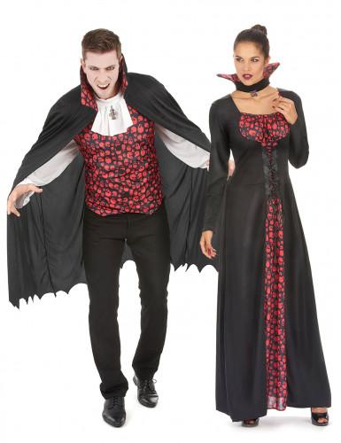 Disfraz pareja de vampiros negro y rojo