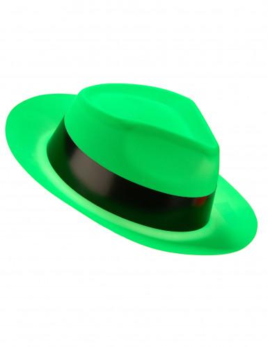 Sombrero de Gánster verde fosforito adulto