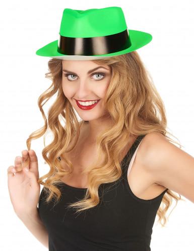 Sombrero de Gánster verde fosforito adulto-1