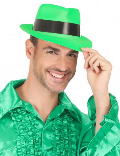 Sombrero de Gánster verde fosforito adulto-2