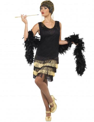 Disfraz charlestón negro y dorado mujer