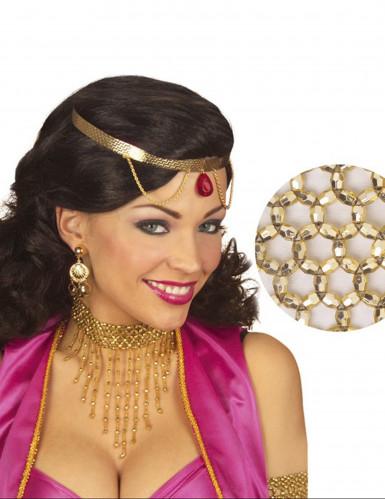 Collar perlas doradas mujer