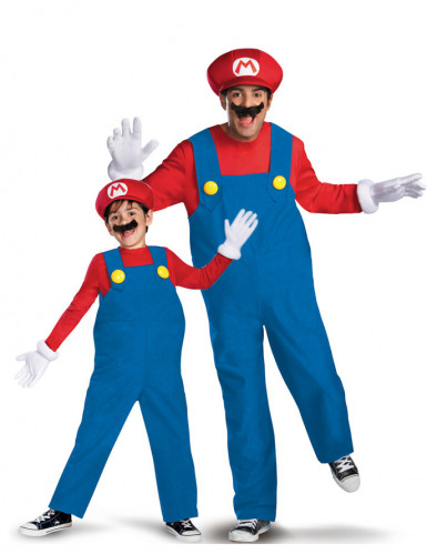 Disfraz de pareja Mario™ padre e hijo