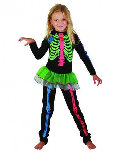 Disfraz esqueleto de colores niña