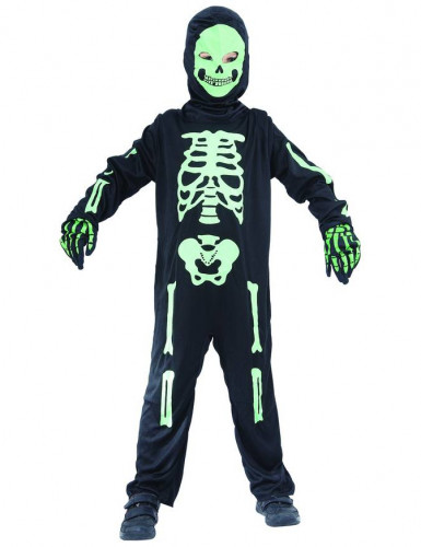 Disfraz de esqueleto verde niño