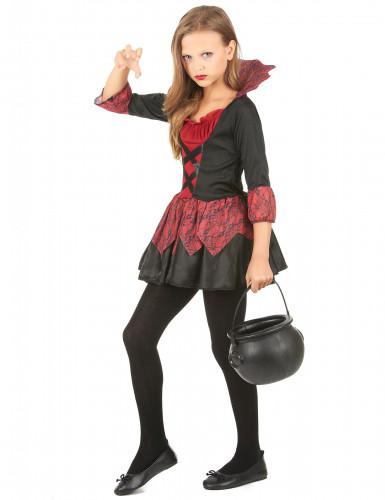 Disfraz de vampiresa niña rojo y negro-1