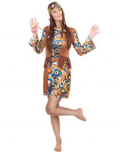Disfraz hippie mujer marrón