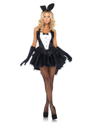 Disfraz de conejita sexy blanco y negro para mujer